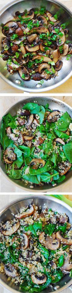 Spinach and mushroom quinoa - healthy, vegetarian