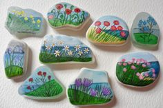Flowers by the sea miniature painting art fridge magnets - sea glass and beach pottery