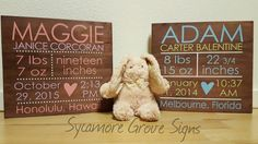 What an adorable one-of-a-kind keepsake for the new baby in your life! It is the perfect gift for new parents or a classic finishing touch to your babys nursery. It will be personalized with all your precious newborns information  Sign Details:  * Measures approximately 12 tall by 12 wide by 1 deep  * 100% handmade, hand-painted and stained  * Personalized with your childs birth information. In the NOTE TO SELLER upon checkout, please include the following information: CHILDS FULL NAME…