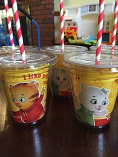 A personal favorite from my Etsy shop https://www.etsy.com/listing/289228025/daniel-tiger-drinking-cups-set-of-8