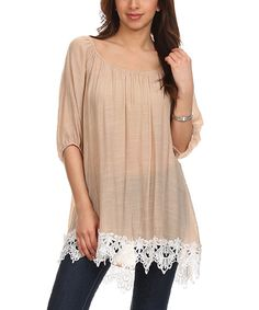 Look at this J-Mode USA Los Angeles Khaki Lace-Hem Top - Women on #zulily today!