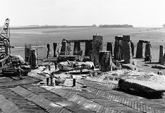 Further resculpting of Stonehenge in 1958