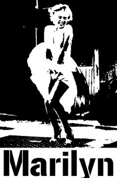 Black and White Marilyn Monroe Stencil   by Macy McQuillen
