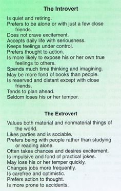 Introverts vs. Extroverts. For me, it's introvert all the way!