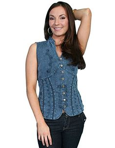 9532460362e Scully Womens Cantina Beautifully Detailed SL Blouse Dark Blue Blouse LG      See this · Western Wear ...