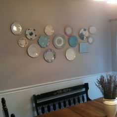Plate wall. Used a mix of vintage and new plates to create this kitchen wall decor!
