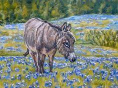 Donkey in Bluebonnets Oil Painting Animal Portrait Farm Animal Flowers Landscape, painting by artist Debra Sisson