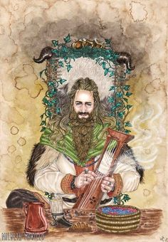 Bragi the Skald of Asgard by milbeth morillo. Danish Vikings, Pagan Art, Asatru, American Gods, Viking Age, Anglo Saxon, Norse Mythology, Green Man, Gods And Goddesses