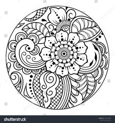 Outline round floral pattern for coloring book page. Antistress for adults and children. Doodle ornament in black and white. Mehndi, Henna, Zentangle, Free Vector Art, Draw Vector, Doodle Patterns, Motif Floral, Illustrations, Coloring Book Pages