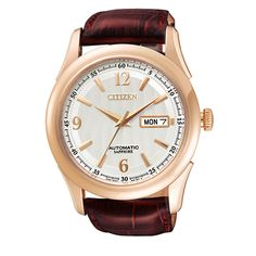 Citizen Men's Automatic Brown Leather Sapphire Dress Watch NH8312-07A