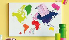 Present Time World Map Memo Board, Magnetic Steel, Multi Colour : Neat...