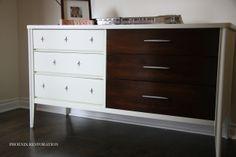 Broyhill SAGA: Quinn's Ivory and Walnut Platinum Starburst Nursery Dresser {by: Phoenix Restoration} #phoenixrestoration #whiteandwalnut #midcentury #broyhill #nursery