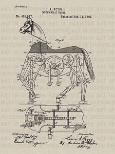 MECHANICAL HORSE 927 vintage patent illustration by ArtofInvention