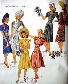Six wonderfully lovely spring/summer 1940s dresses. #vintage #1940s #fashion