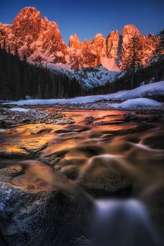 Alpenglow sunset in the Italian Dolomites Trentino...