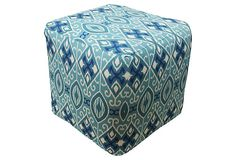 Aqua blue Ikat Outdoor pouf .. great for poolside or just to have extra seating