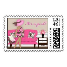 african american  postage stamps | Chic Modern Mum Baby Shower Postage Stamp