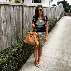 Everyday style featuring Saben bag, jeanswest tee, esprit skirt and Nine West shoes