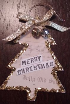 Christmas Tree Paper and Glittered Ornament; Music, jingle bells, Gold by PamBlohm on Etsy