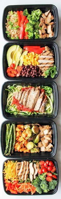 *Grill my own chicken* Chicken Meal Prep Bowls: 5 Ways - this is a quick and easy way to have healthy lunch recipes and healthy dinner recipes for the week! | Posted By: DebbieNet.com