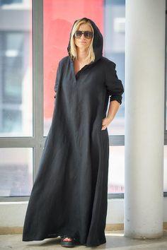 Black Linen Dress Plus Size Linen Dress Caftan Dress Plus Size Clothing Black Maxi Dress Hooded Dress Gothic Clothing Long Maxi Dress - April 13 2019 at Dress Plus Size, Plus Size Outfits, Maxi Dresses Plus Size, Peplum Dresses, Linen Dresses, Casual Dresses, Hijab Casual, Mode Abaya, Hooded Dress
