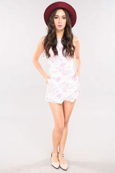 Cheks Pastel Floral Romper - Pink | RUNWAY BANDITS