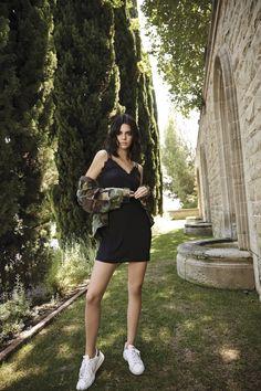 Kendall Jenner wears Kendall & Kylie Eyelash Lace Strappy Slip Dress