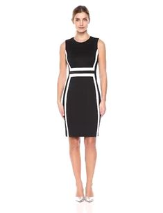 Polyester, Spandex Imported Zipper closure Dry Clean Only Great for wear to work Flattering fit Dressy Dresses, Stylish Dresses, Short Dresses, Work Dresses For Women, Dress Sewing Patterns, Calvin Klein Dress, Colorblock Dress, Plus Size Dresses, Sheath Dress