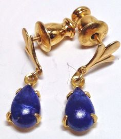 Vintage Monet Lapis Lazuli Teardrop Pierced Gold Earrings #Monet