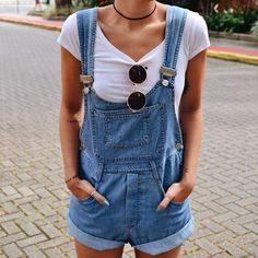 overall dress, white tee, black choker