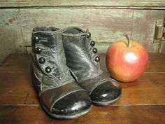 Sweet & Simple Old High Button Baby Shoes ~ Black Leather