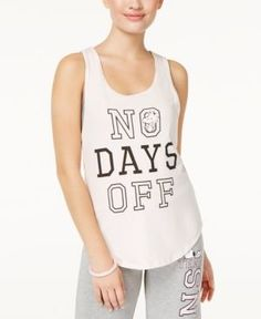 Peanuts X Love Tribe Juniors' No Days Off Graphic Tank Top - Silver Peony XL