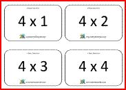 Printable times tables flashcards for all tables up to 10x10. The flashcards can be printed out with answers on the reverse if needed.