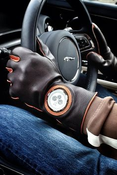 Driving gloves with opening for watch face.