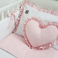 **BRAND NEW LUXURY & EXCLUSIVE CO-ORDINATING COLLECTION 'DOLLY' - one size bedding set; white, grey polka dot on white & powder pink bedding set for baby girl cot 120x60cm or cot bed 140x70cm - please see dimensions INCLUDES: *7pcs - duvet, pillow, reversible duvet cover, pillowcase, bumper, cot tidy, cushion in the shape of heart only Size: *reversible duvet cover 100x135cm (100% Cotton), *pillowcase with decorative frill 40x60cm (100% Cotton), *universal bumper 180cm long, h...
