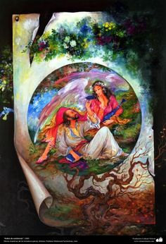 """Sheets of existence"" 1989 - Persian miniature - by Professor Mahmud Farshchian Painting Prints, Art Prints, Painting Styles, Paintings, Shrink Art, National Art, Learn Art, Fashion Painting, Islamic Art"