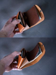 イタリア製牛革の二つ折り財布コンビ / ライトブラウン / ダークブラウン※受注製作の画像6枚目