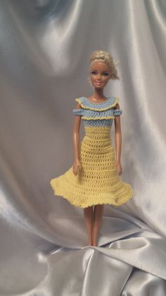 Crochet Barbie Dress, Fashion Doll Crocheted Clothing, Handmade Barbie Clothes, Yellow Summer Dress For Barbie by GrandmasGalleria on Etsy