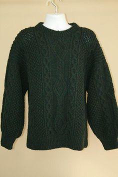Donegal Hand Knit 100% Aran Wool Green Irish Fisherman Crewneck Sweater sz L M #MoriartyIndustries #Crewneck