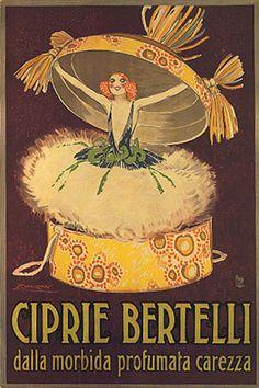 Powders Bertelli, dalla morbida profumata carezza (The soft perfumed caress of powder). Vintage advertising poster.