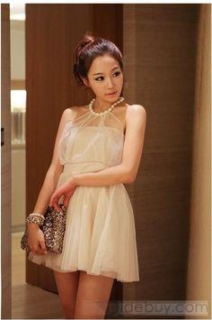人気韓国スタイル新しい夏メッシュホルターパールスカート
