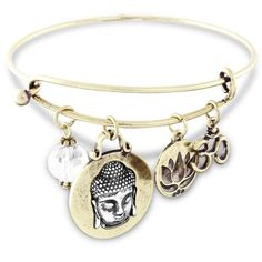 Spiritual Om Expandable Wire Charm Bracelet Antique Gold Tone with Crystal - http://www.amazon.com/Spiritual-Expandable-Bracelet-Antique-Crystal/dp/B00LU0AF3Q