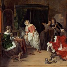 """In contrast to the quiet paintings we saw earlier by De Hooch and Vermeer, Gabriel Metsu gives us an active interior scene, filled with action and heightened emotion. Take a moment to drink in the scene. What do you think is happening here? How does Metsu provide a sense of drama through the composition of the painting? What might the keys, slipper, and comb mean? What do the colorful costumes convey? #ArtAtoZ #Interior (Detail) Gabriel Metsu, """"The Intruder,"""" c. 1660"""