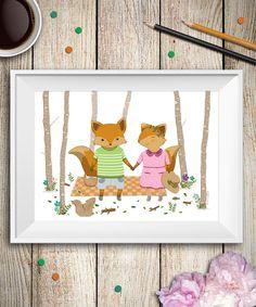 Füchse im Wald, Abbildung Picknick im Wald, Wandgestaltung, Kinderzimmer Kunst von aCupOfCreativity auf Etsy https://www.etsy.com/de/listing/224161812/fuchse-im-wald-abbildung-picknick-im
