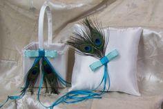 Peacock Flower Basket & Ring Pillow ♥ MandaleighDesigns - $47.50