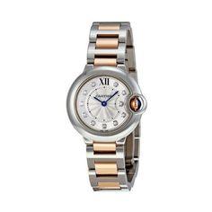 Cartier Ballon Bleu Silver Dial Steel and 18kt Rose Gold Ladies Watch WE902030