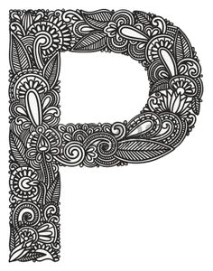 Illustration of Hand drawing ornamental alphabet vector art, clipart and stock vectors. Doodle Art Letters, Cute Doodle Art, Alphabet Letters Design, Doodle Art Designs, Doodle Art Drawing, Monogram Alphabet, Mandala Drawing, Doodle Patterns, Pencil Art Drawings