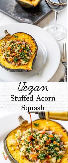 Roasted Stuffed Acorn Squash with Quinoa and Kale A healthy and easy dinner recipe! Vegan stuffed acorn squash is a great holiday main or side dish. Vegan Dinner Recipes, Vegan Dinners, Whole Food Recipes, Cooking Recipes, Healthy Recipes, Dinner Healthy, Beef Recipes, Easy Recipes, Chicken Recipes