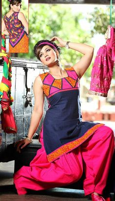 $73.98 Blue and Pink Printed Cotton Salwar Kameez 25595
