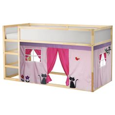 Owl Bed Playhouse / Bed tent / Loft bed curtain - free design and colors customization Kids Bed Tent, Ikea Kids Bed, Bunk Bed Playhouse, Bunk Bed Tent, Girls Bunk Beds, Kid Beds, Loft Bed Curtains, Kura Ikea, Kura Hack